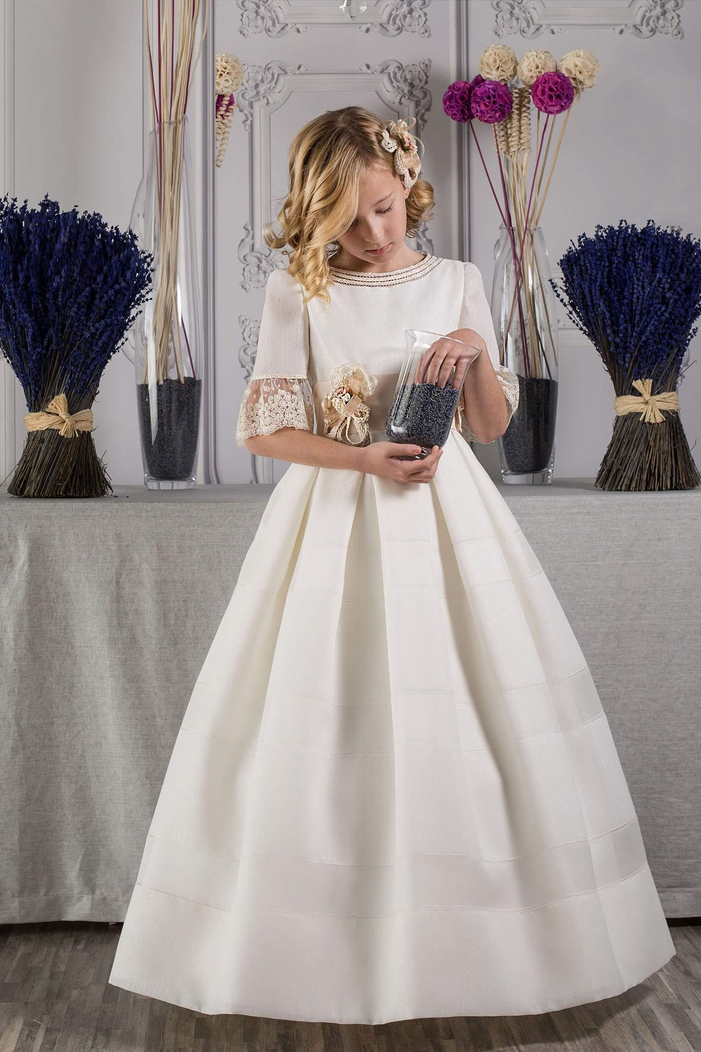 Flutter Lace Sleeves Half Long A-line Silk Satin First Holy Communion Dress with Hand Made Flower