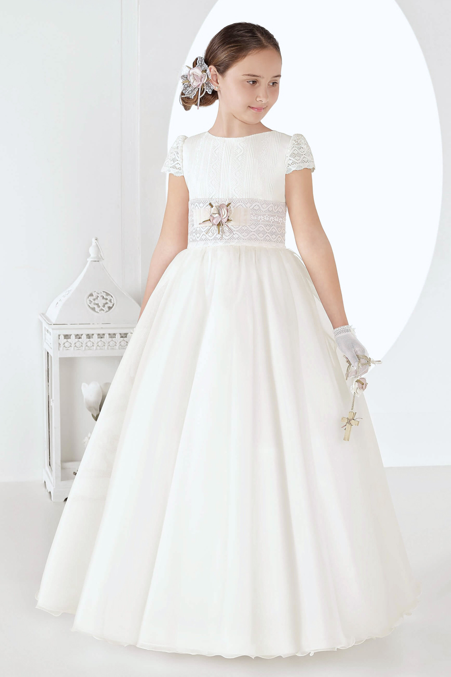 Cap Sleeves Jewel Neck Elegant Princess Ball Gown Long Ivory Communion Dress with Flower