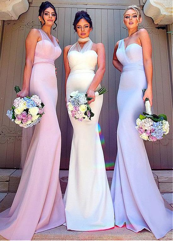 Lilac One Shoulder Mermaid Long Chiffon Bridesmaid Dress
