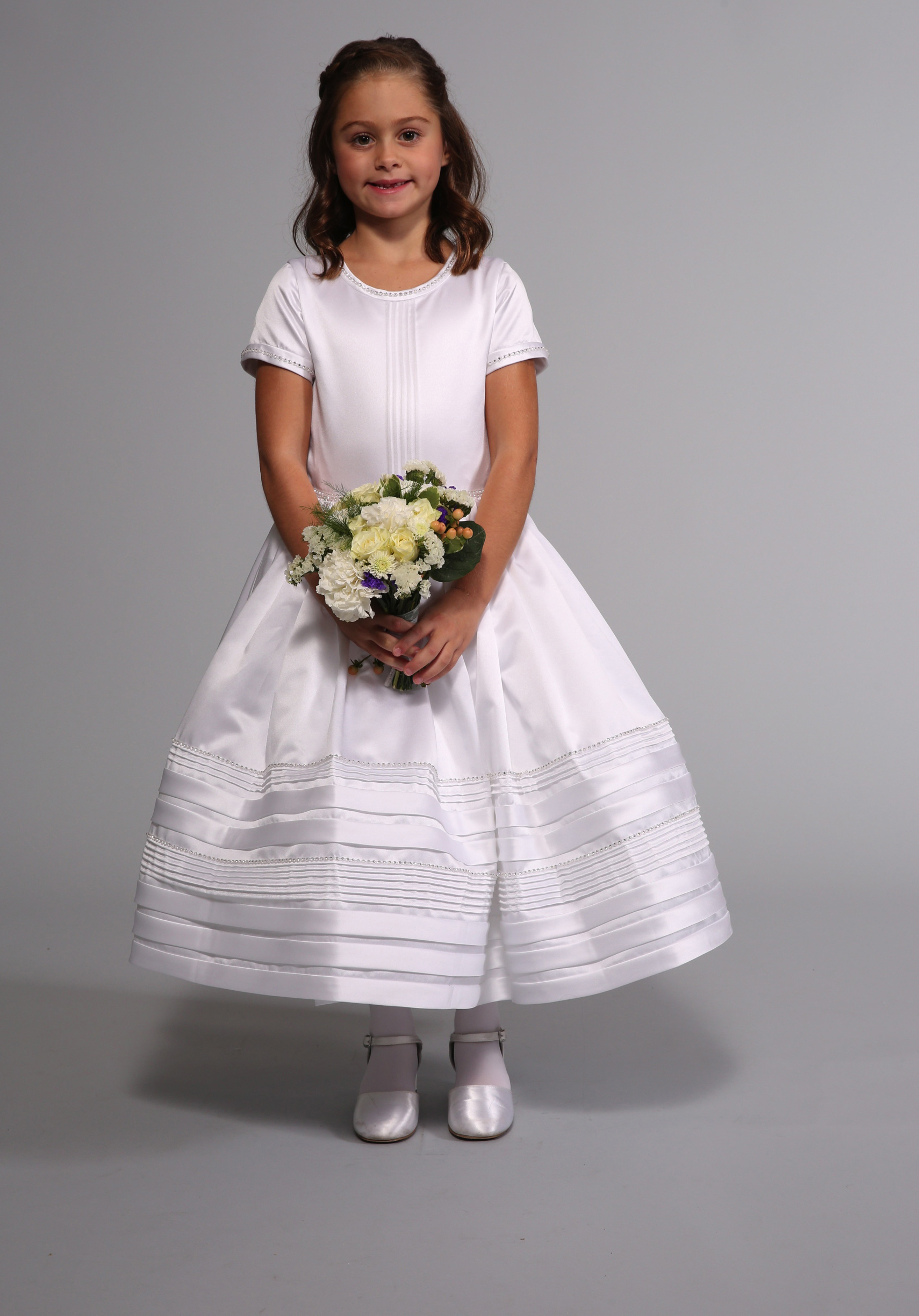 Scoop Neck Beaded Long Ball Gown Satin First Communion Dress with Short Sleeves
