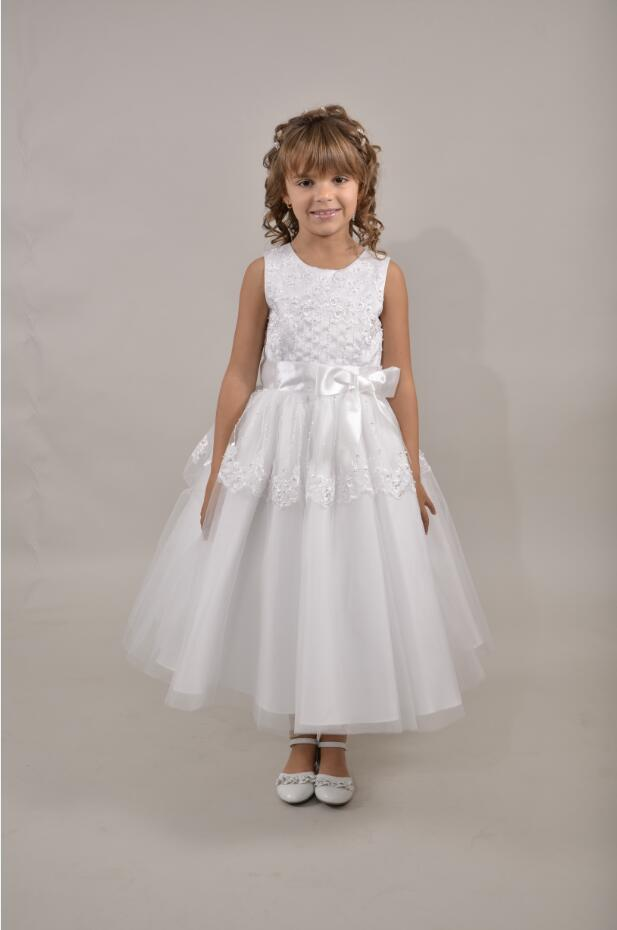 Sleeeveless Lace Appliques Beaded Long White Tulle Communion Girls Dress