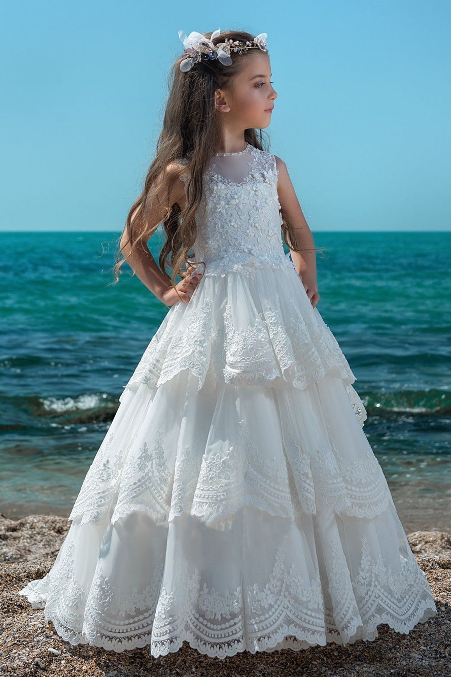 Ball Gown Sleeveless Tiers Long Girls Lace Communion Dress White