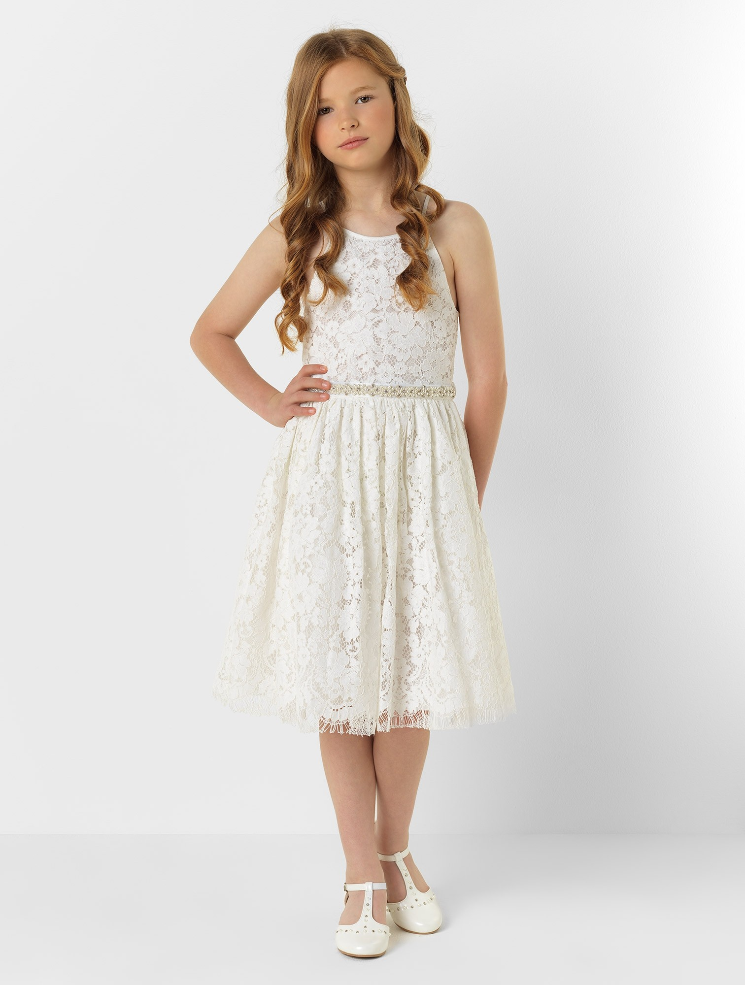 Spaghetti Straps Short A-line Lace Flower Girl Dress with Beaded Belt