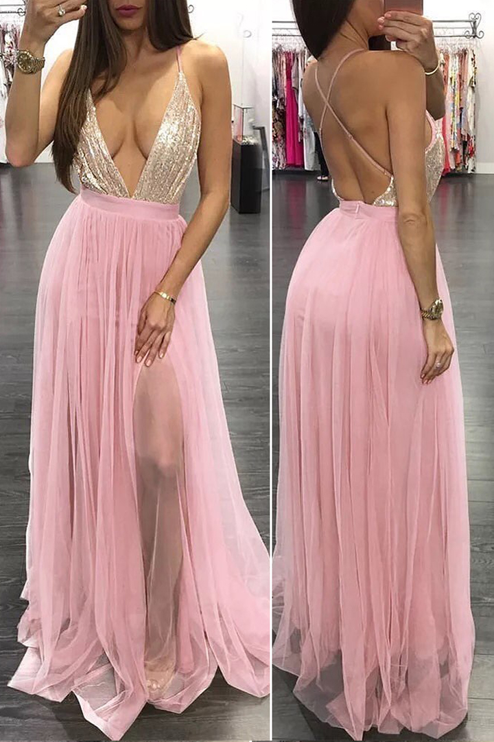 Sexy Deep V-neck Sequins Top Split Floor-length Long Tulle Prom Dress with Criss-cross Back