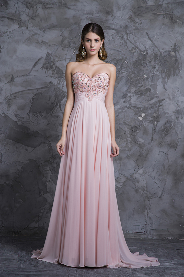 Sweetheart Sleeveless Beading Floor length Long Chiffon Prom Dress