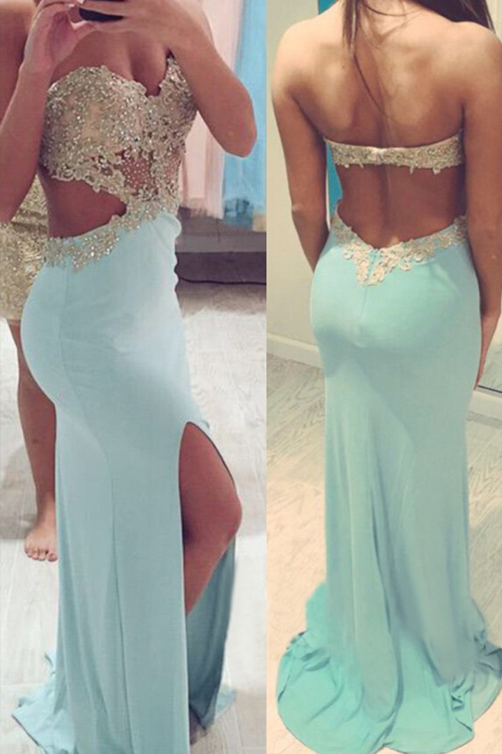 Sexy Sweetheart Sleeveless Beading Lace Split Sweep Train Long Chiffon Prom Dresses