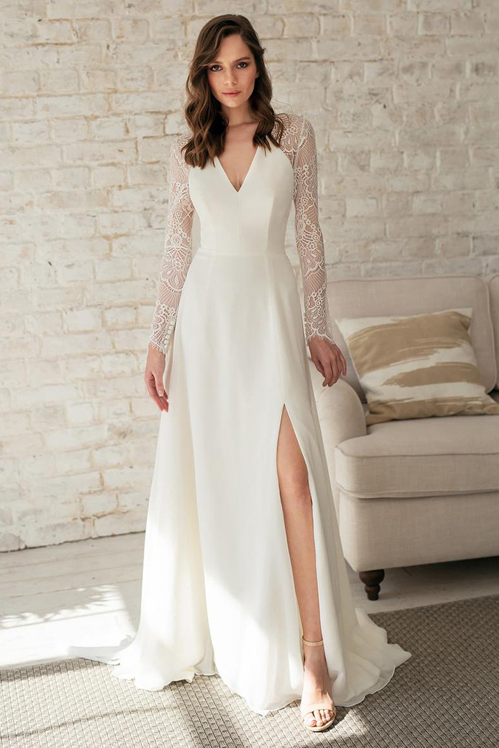 Elegant A-line V-neck Lace Long Illusion Sleeve Split Court Train Chiffon Reception Wedding Dresses