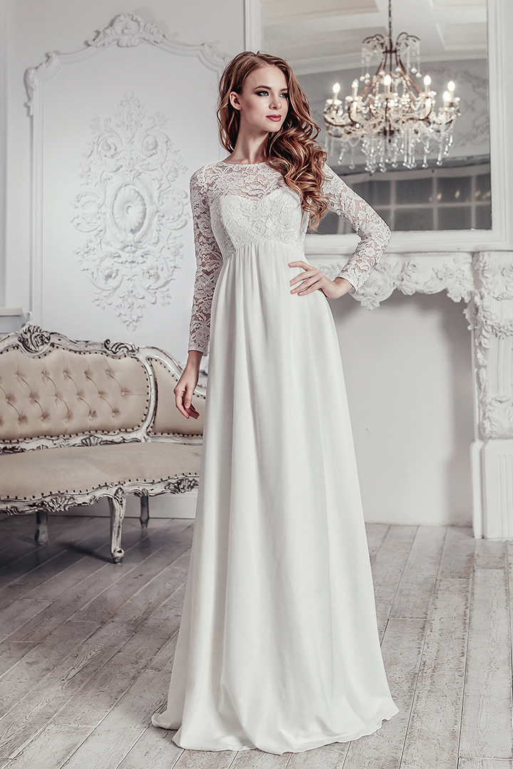 Reception Jewel Neckline Long Sleeve Lace Floor-length Long Chiffon Wedding Dresses with Keyhole Back