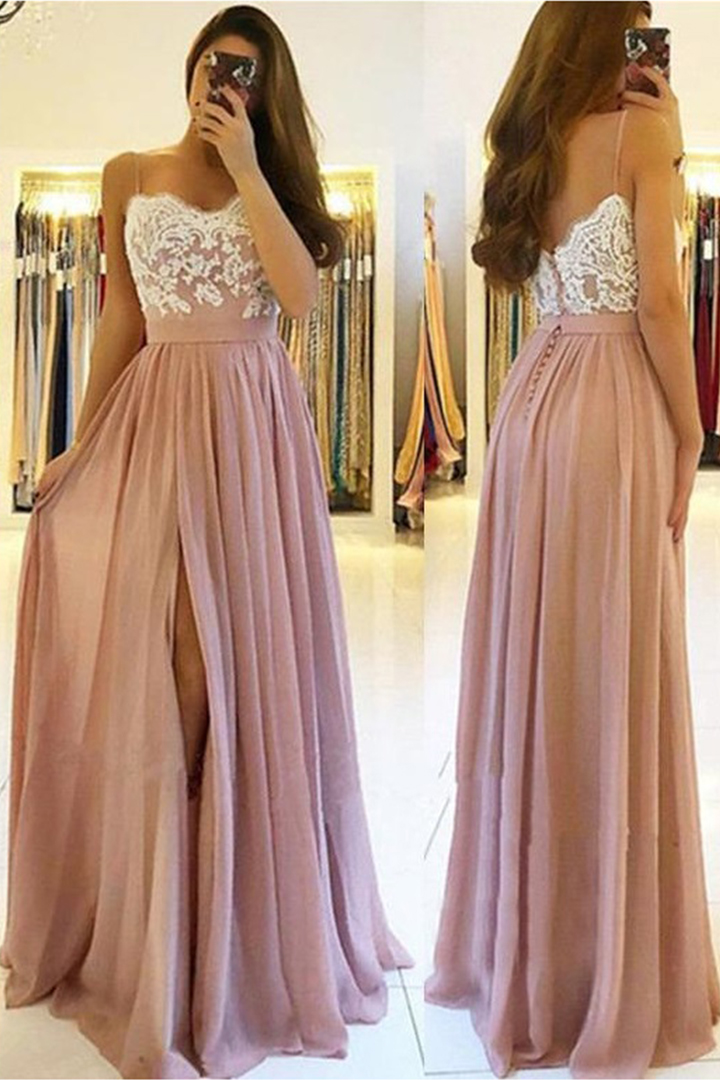 Simple Spaghetti Straps Buttons Lace Split Floor-length Long Chiffon Prom Dresses