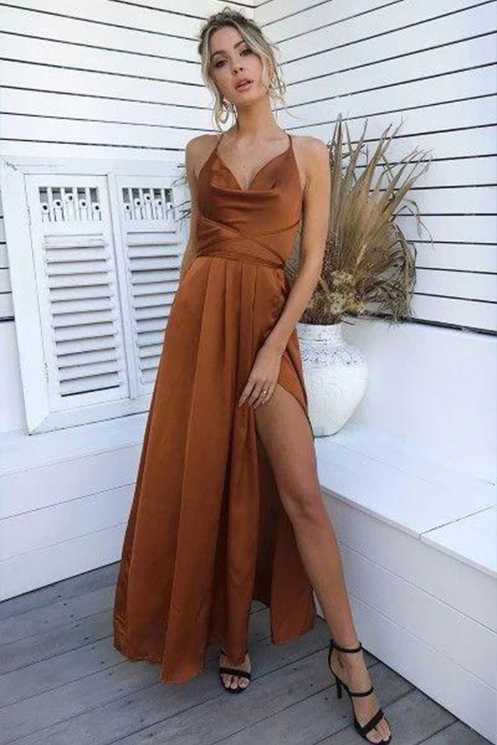 Simple A-line Halter Neckline Sleeveless Floor-length Long Stretch Satin Evening Dresses with Criss-cross Back