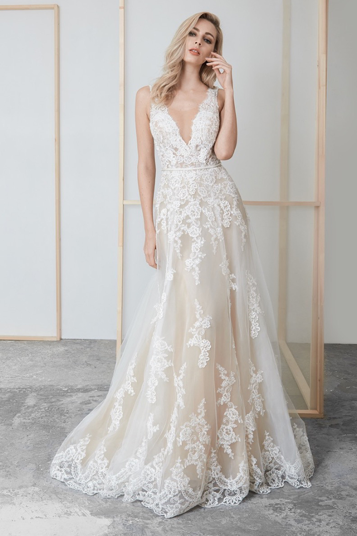A-line V-neck & Mesh Neckline Sleeveless Court Train Long Wedding Dresses with Removable Beading Sash (Picture shown - Ivory Dress with a layer of champagne tulle inside)