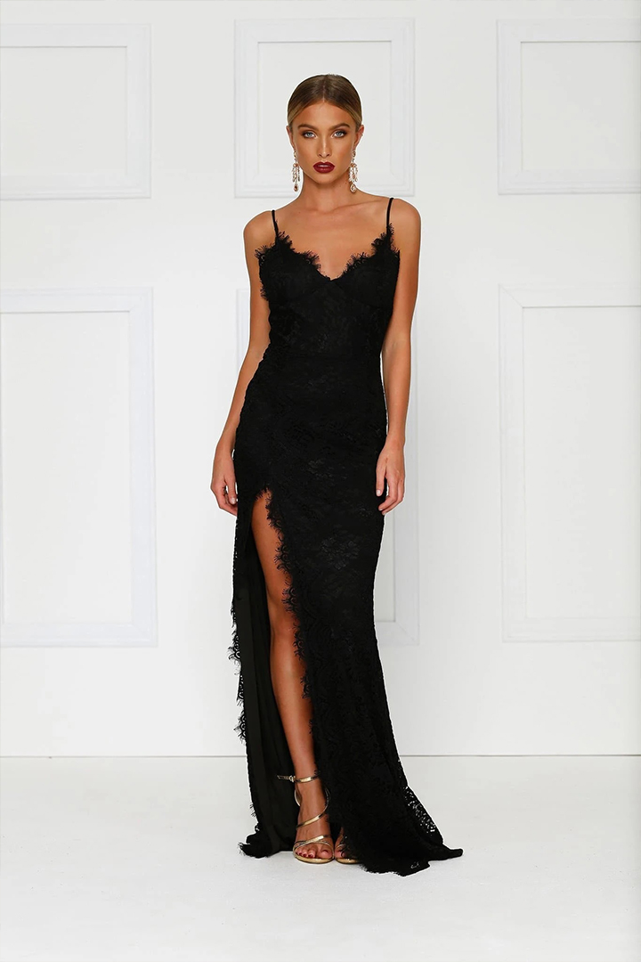 Sheath/Column Spaghetti Straps Sleeveless Lace Split Floor-length Long Black Prom Dresses