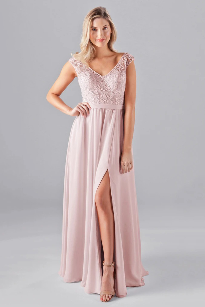 A-line V-neck Cap Sleeves Lace Top Split Floor-length Long Chiffon Bridesmaid Dresses with Pockets
