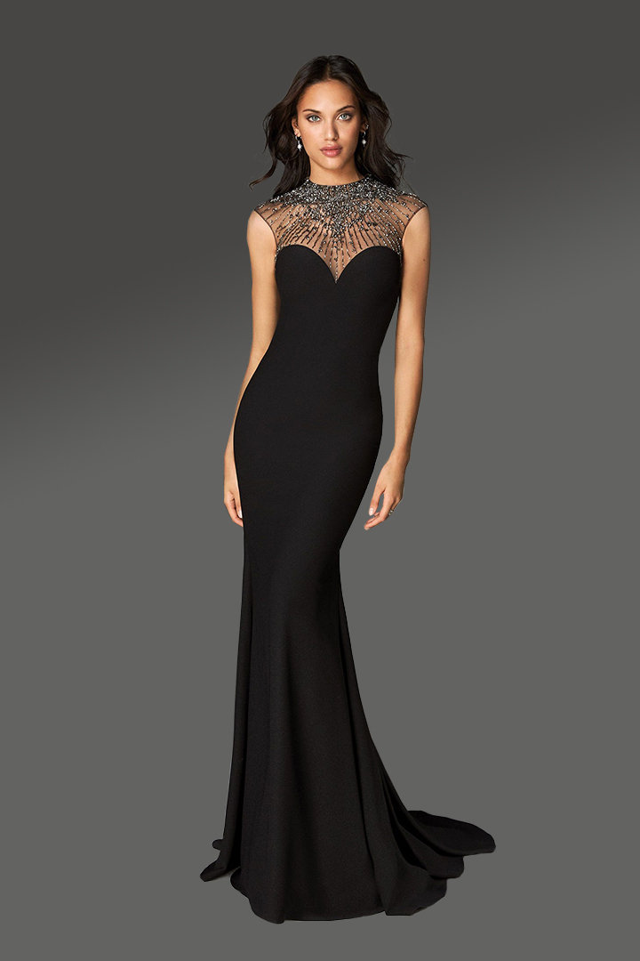 Trumpet/Mermaid Jewel Neckline Sleeveless Beading Sweep/Brush Train Long Jersey Cocktail Dresses