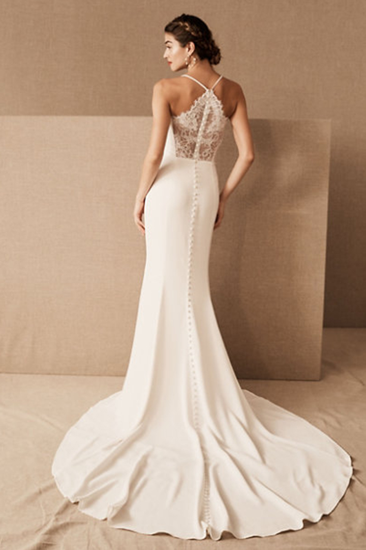Trumpet/Mermaid Spaghetti Straps Sleeveless Lace Court Train Long Wedding Dresses with Buttons Back