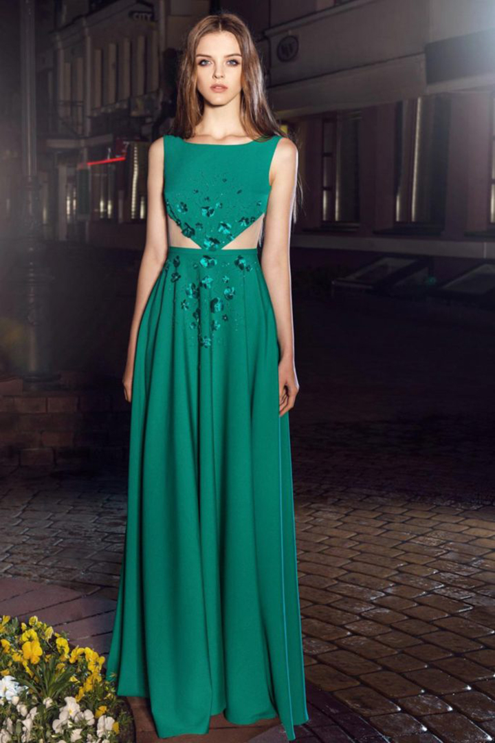 A-line Scoop Neckline Sleeveless Hand Made Flowers Floor-length Long Cocktail Dresses