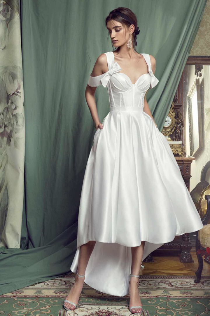 A-line Shoulder Straps Bows Asymmetrical/High Low Long Satin Wedding Dresses with Pockets