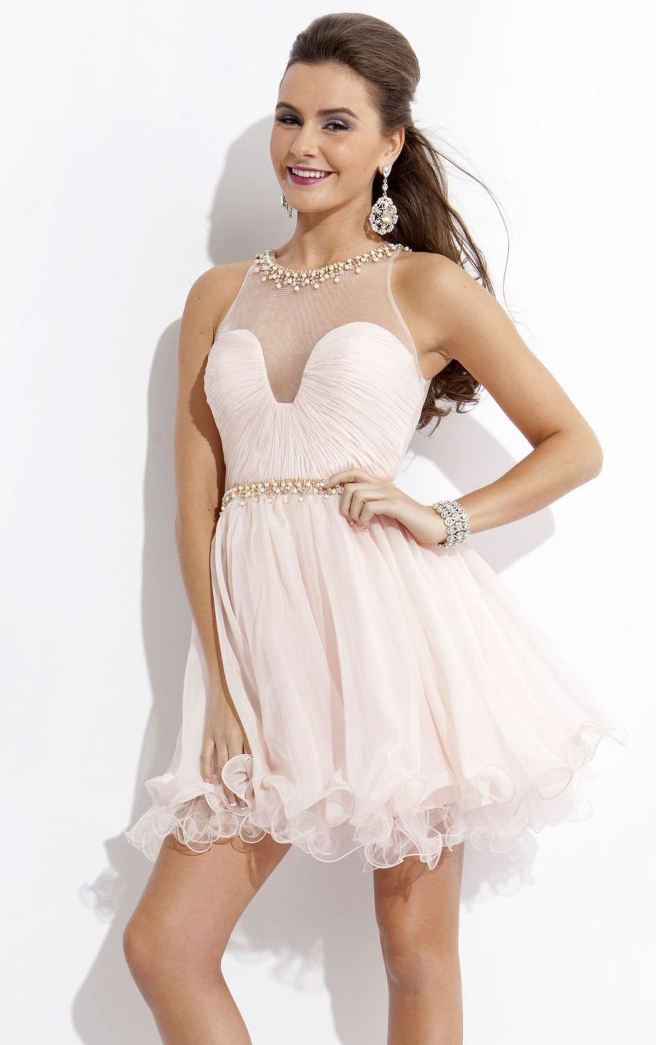 Backless Short/Mini TulleSleeveless A-line Short Prom Dress with Pearl Beading