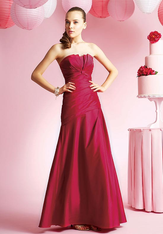Sheath Zipper Strapless Empire Satin Bridesmaid Dresses