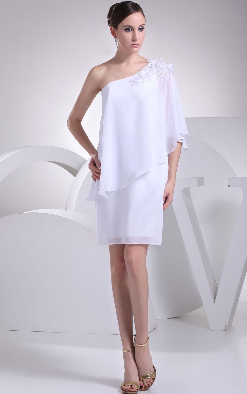 Short Backless Sheath Chiffon Natural Bridesmaid Dresses