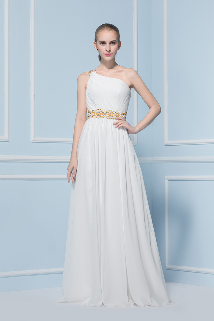 A-line One Shoulder Sleeveless Beading Sweep/Brush Train Wedding Dress