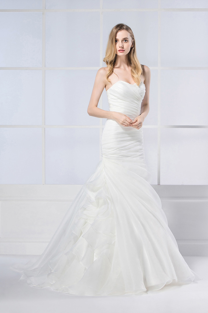 Trumpet Wedding Dresses With Ruffles : Trumpet mermaid strapless cascading ruffles long wedding dresses