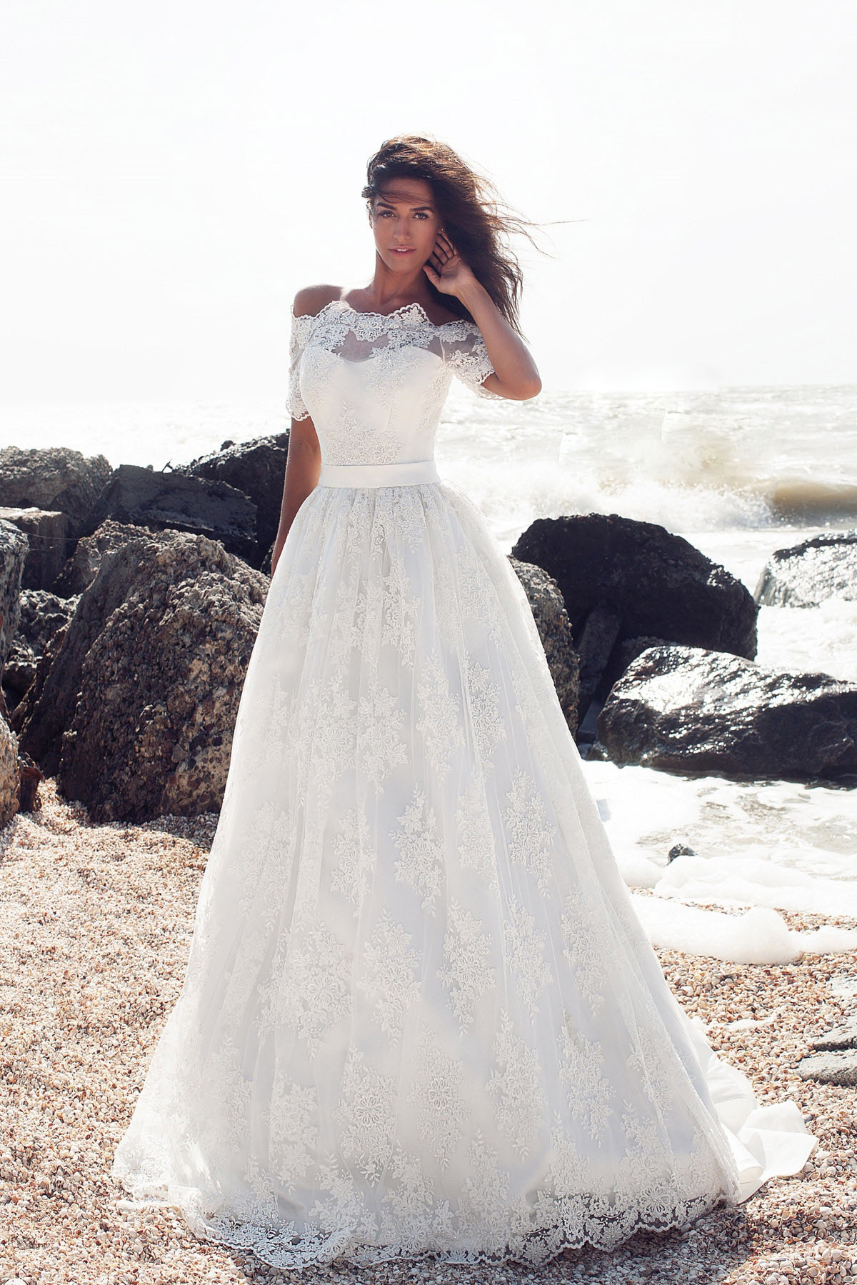 Off Shoulder Short Sleeve Long A-line Lace Beach Wedding Dress