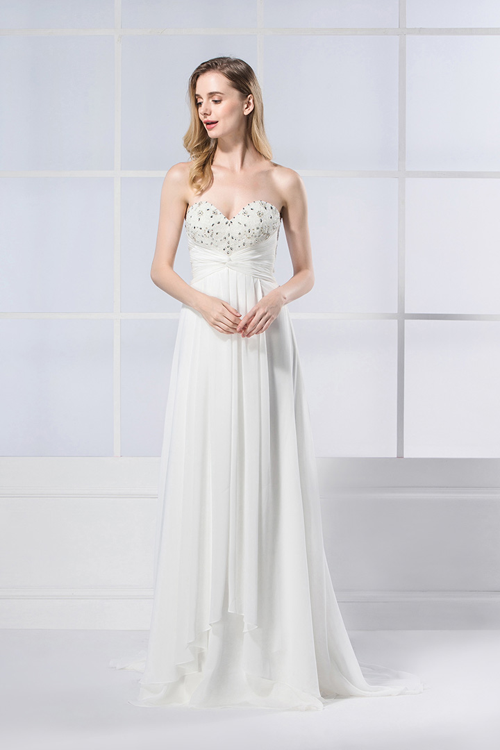 A-line Sweetheart Pleated Sweep/Brush Train Beading Wedding Dresses