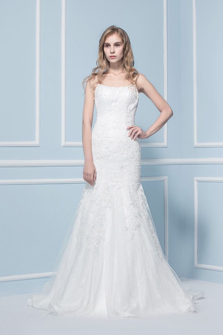 A-line Spaghetti Straps Mermaid Lace Sweep/Brush Train Tulle Wedding Dresses