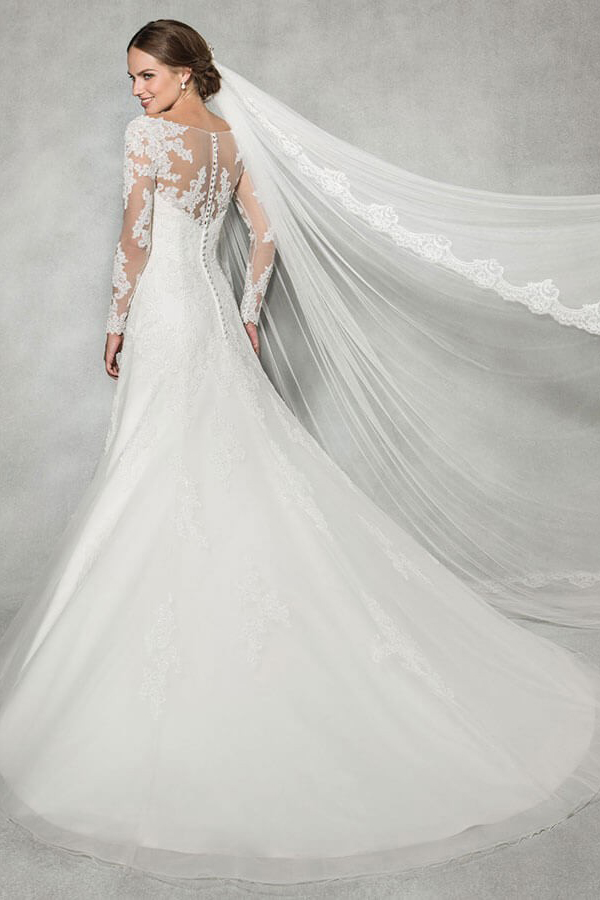 Illusion Neck Long Sleeves A-line Ivory Tulle Wedding Dress
