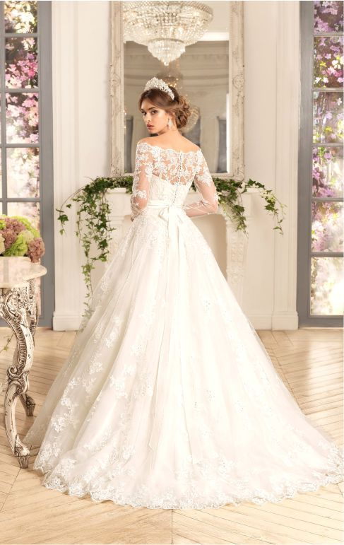Bateau Neck Long Sleeves A-line Ivory Lace Wedding Dress with Crystal Band