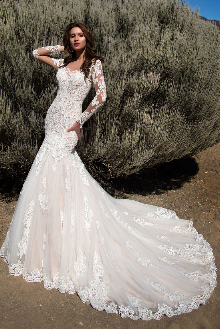 Illusion Neck Lace Embroidery Long Mermaid Wedding Dress Long Sleeves