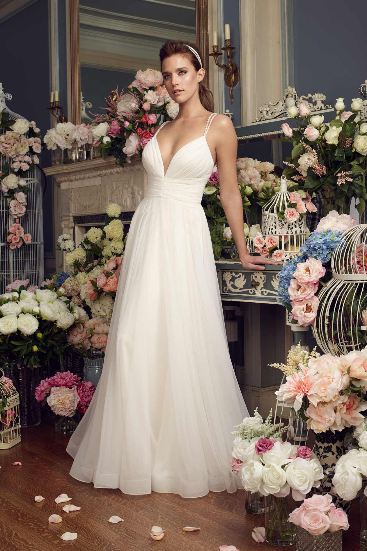 Beaded Straps Deep V Neck Long A-line Ivory Tulle Wedding Dress