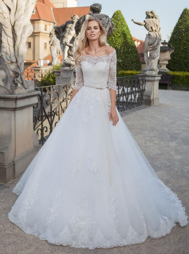 Half Sleeves Off Shoulder White A-line Tulle Wedding Dress with Ribbon
