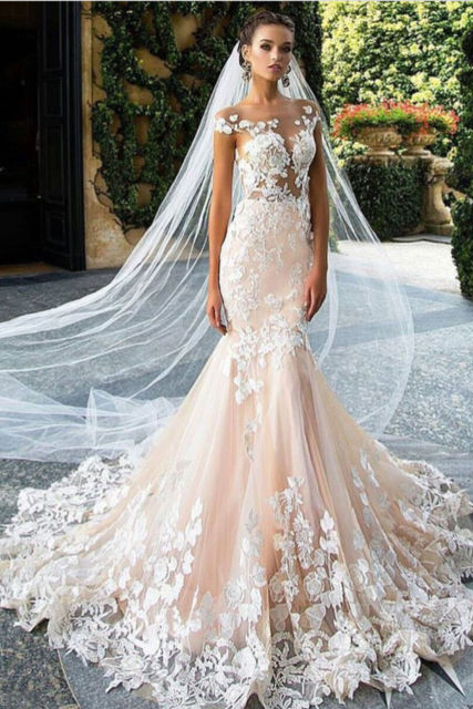 cap sleeves lace appliques sheer top pearl pink tulle wedding dress