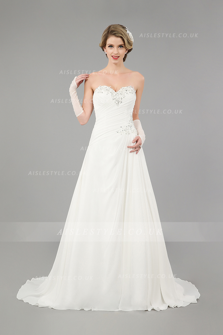 Sparkly Empire Long A-line White Chiffon Wedding Dress
