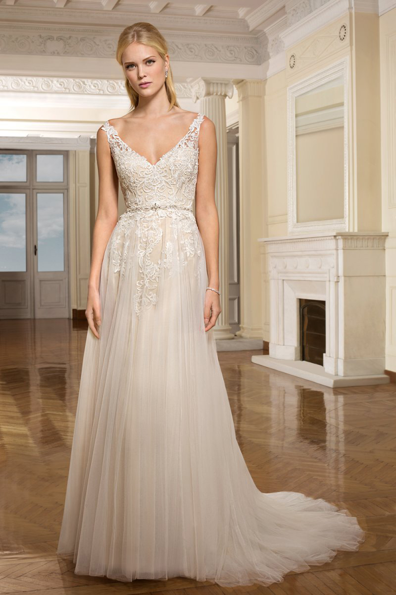 Modern Sleeveless A-line Lace Appliques Beaded Belt Tulle Ivory Wedding Dress