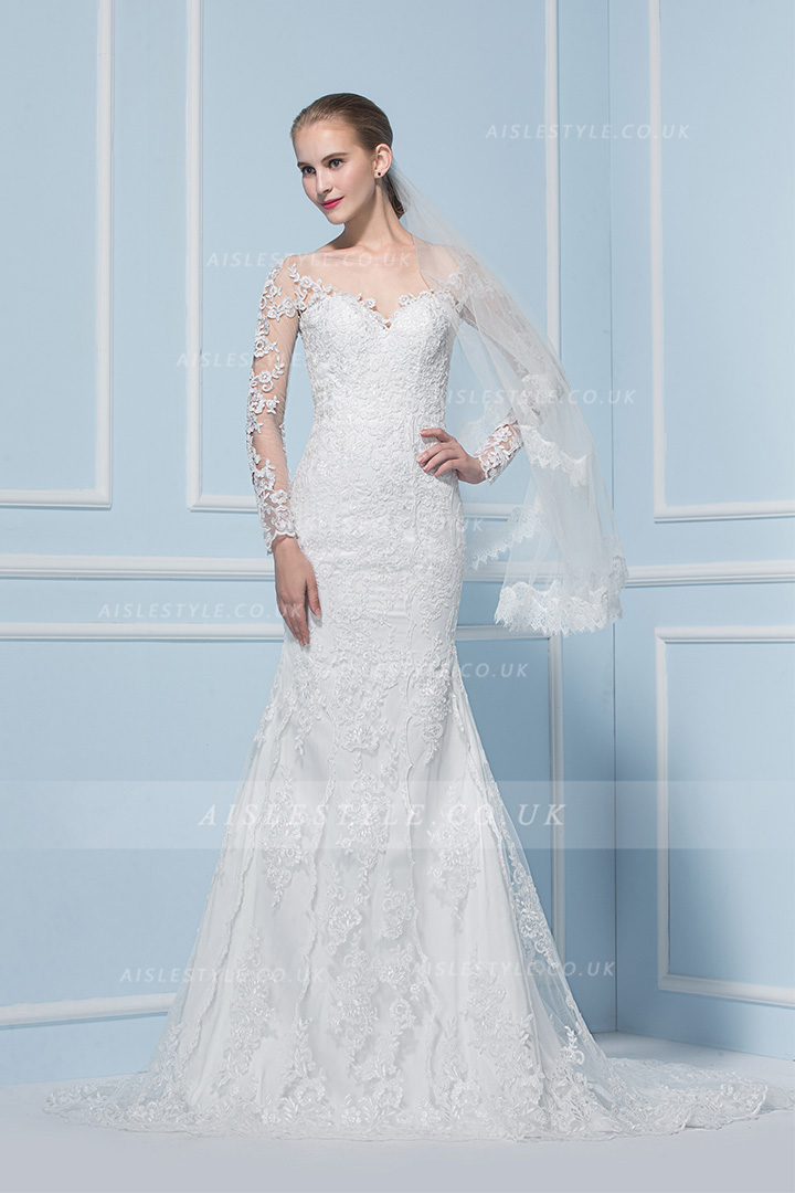 Illusion Bateau Neck Lace Pattern Organza Wedding Dress with Long Sleeves