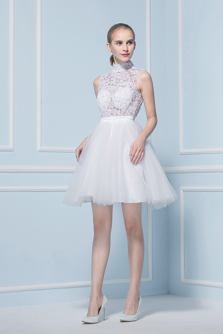 Sexy A-line High Neck Sleeveless Lace Short Wedding Dresses