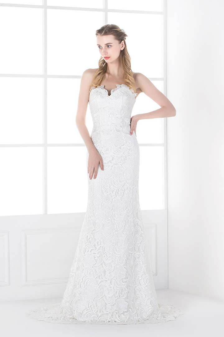 Sheath Strapless Lace Open Back Long Wedding Dresses