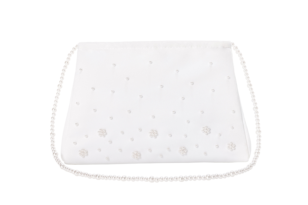 Unique White Wedding Bags With Pearls