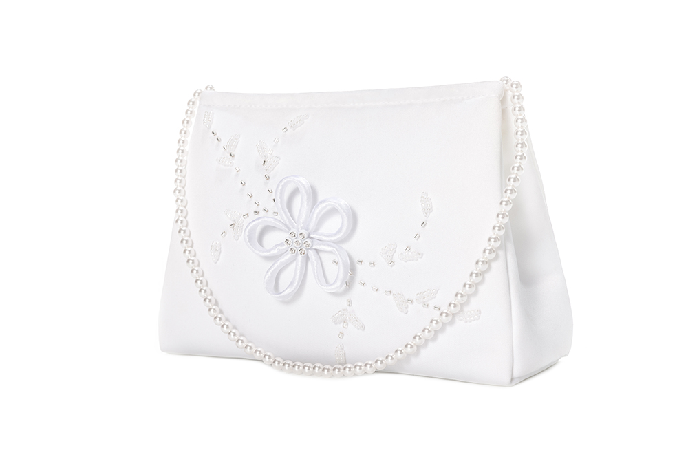 Quality White Girl Bags With Pearl Belt