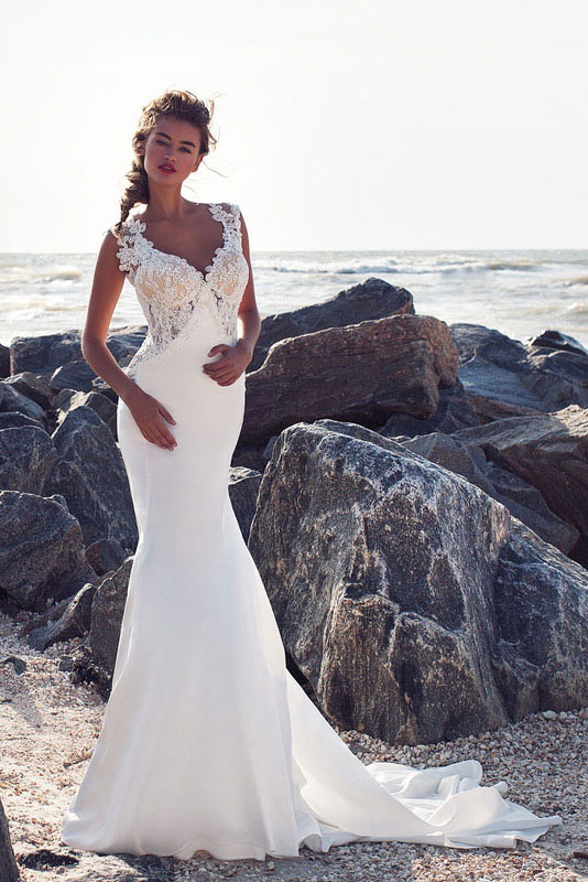 Exquisite V Neck Keyhole Back Long Sheath Satin Chiffon Beach Wedding Dress