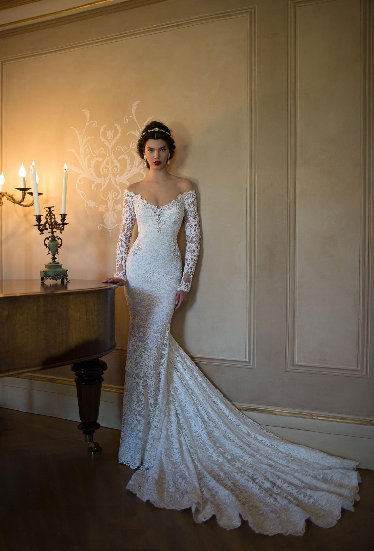 off the shoulder v neck crystal detailling lace mermaid wedding dress with long sleeves p white mermaid wedding dresses Off the Shoulder V Neck Crystal Detailling Lace Mermaid Wedding Dress with Long Sleeves
