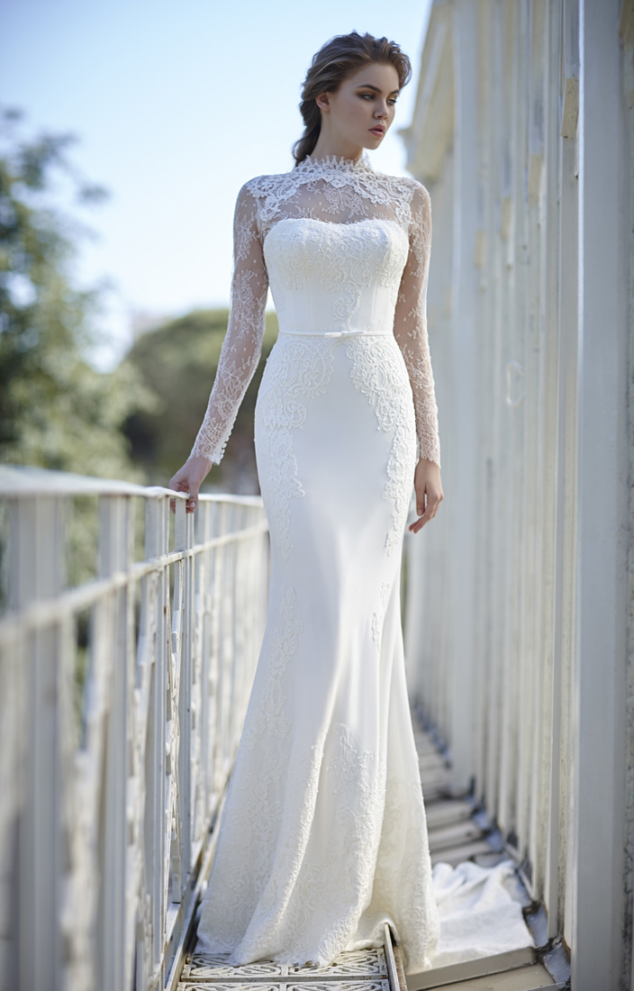 Ivory High Neck Long Sleeves Sheath Lace Wedding Dress with Ribbon