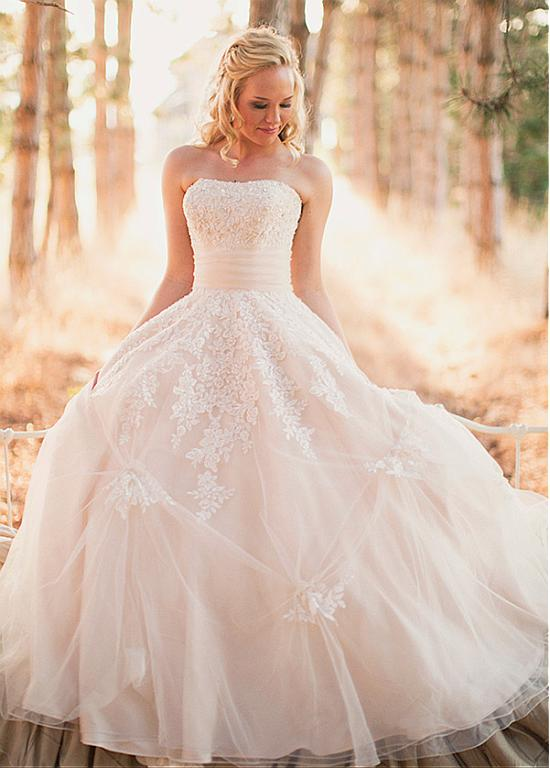 Strapless Blush Ball Gown Lace overlay Tulle Wedding Dress with Ribbon