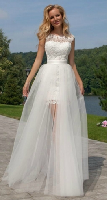High Low Sleeveless A-lineTulle overlay Lace Wedding Dress