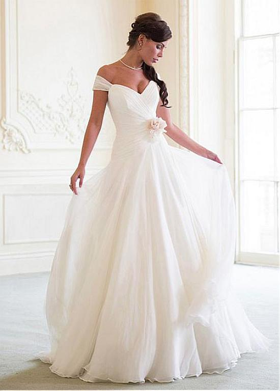 Shoulder Straps A-line Long Chiffon Wedding Dress with Flower