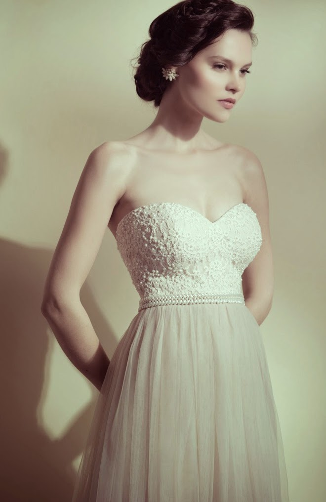Lace Bodice Strapless A-line Champagne Tulle Wedding Dress with Beading
