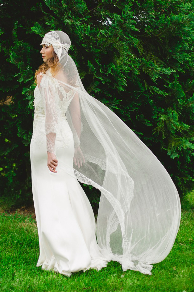Boho Style Lace Trims Silk Satin Long Fit Flared Long Wedding Dress with Champagne Flowers